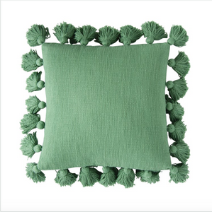 Green Square Cotton Pillow w/ Tassels