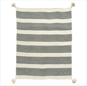 Cotton & Chenille Woven Striped Throw w/ Tassels