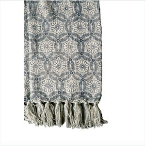Cotton Throw w/ Blue Floral Pattern & Fringe
