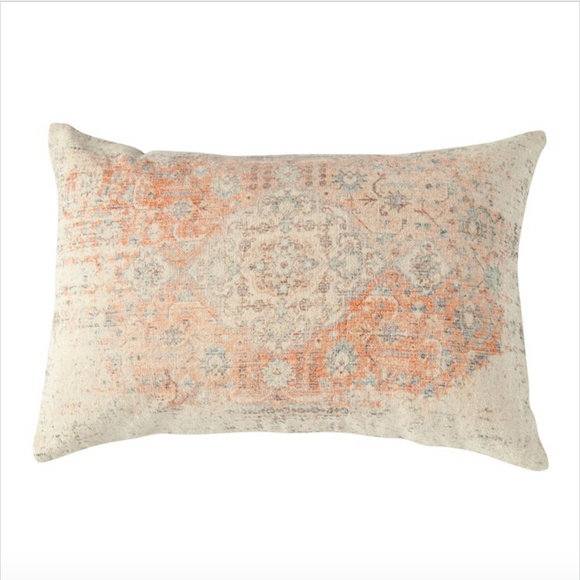 Distressed Paisley Print Lumbar Pillow
