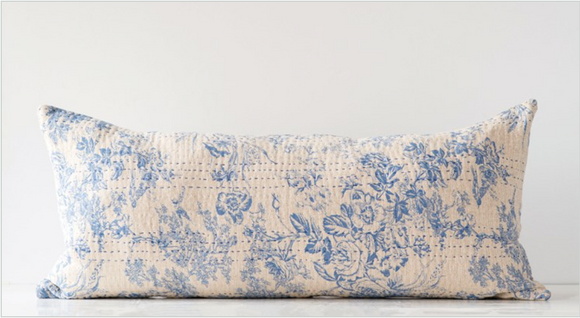 Cotton Chambray Toile Pattern & Kantha Stitch Lumbar Pillow