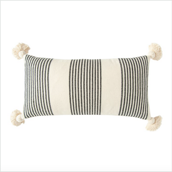 Cotton & Chenille Woven Striped Lumbar Pillow w/ Tassels, Black