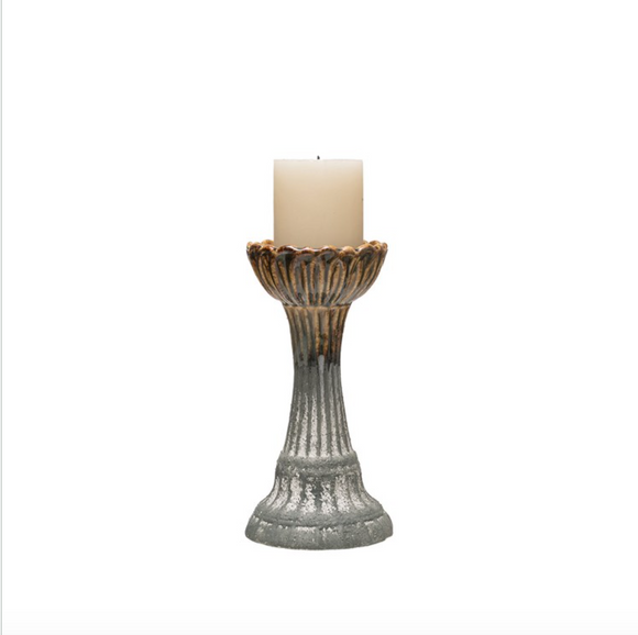 Reactive Glaze Stoneware Candle Holder