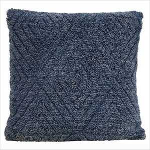 Square Blue Stonewashed Cotton Chenille Pillow
