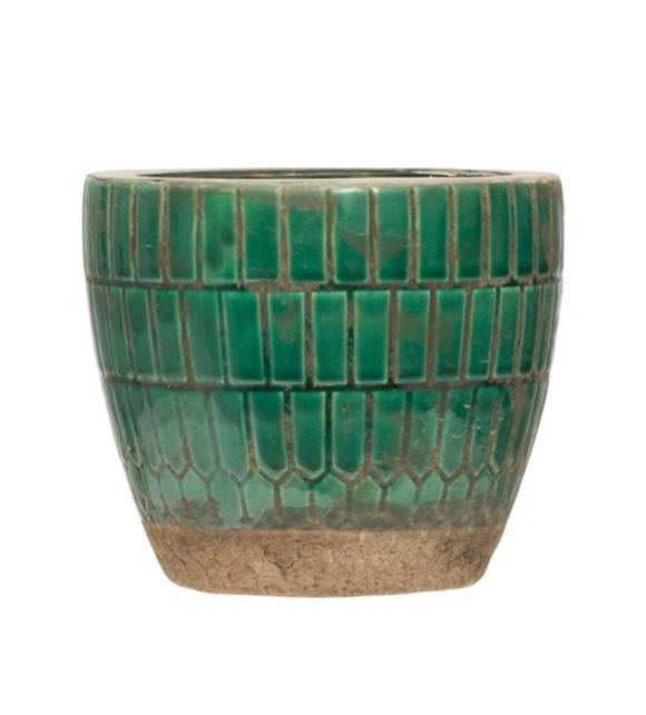 Green Tiled Terra-cotta Pot
