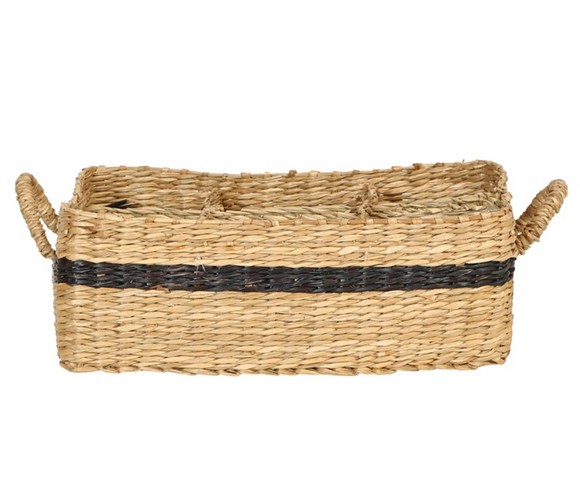 Seagrass Divided Basket w/ Black Stripe