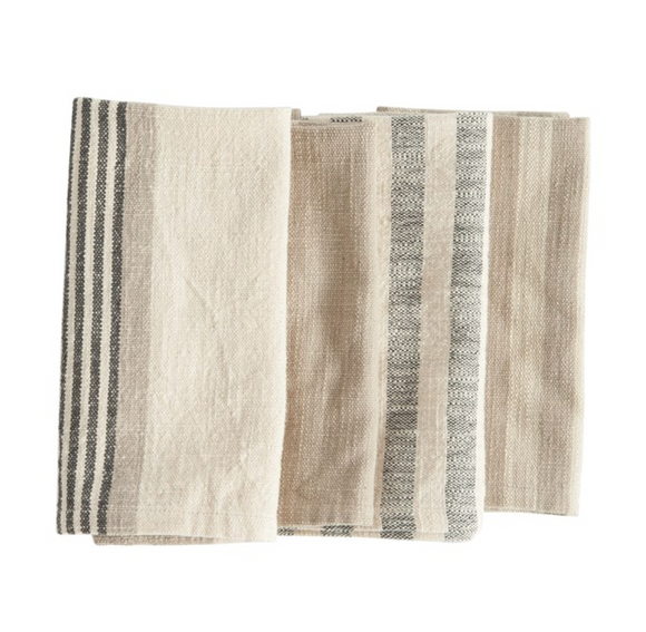 Square Taupe, Black & Cream Striped Napkin Set