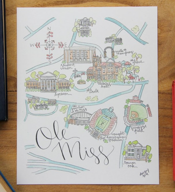 Ole Miss Watercolor Print