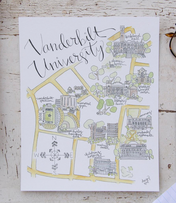 Vanderbilt University Watercolor Print