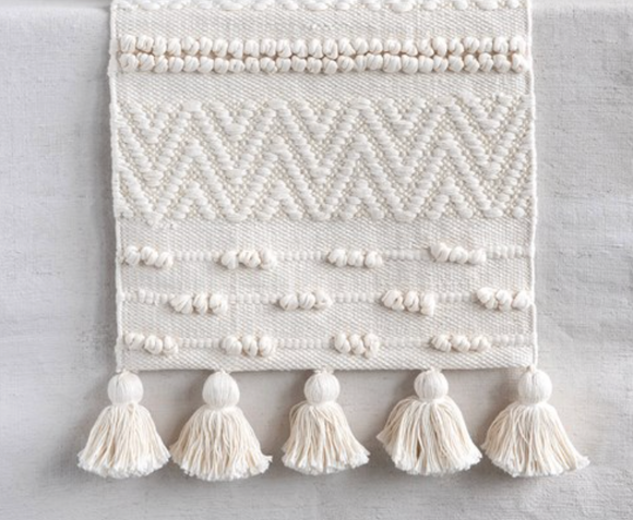 Cream Textured Cotton Runner w/ Tassels
