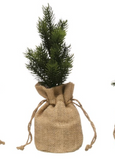 Faux Tree in Burlap Bag