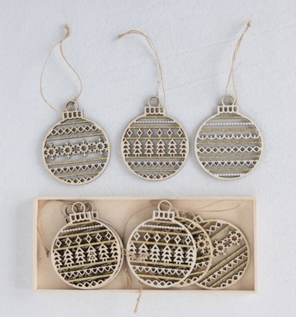 Boxed Set of 9 Wooden Laser Cut Ornaments