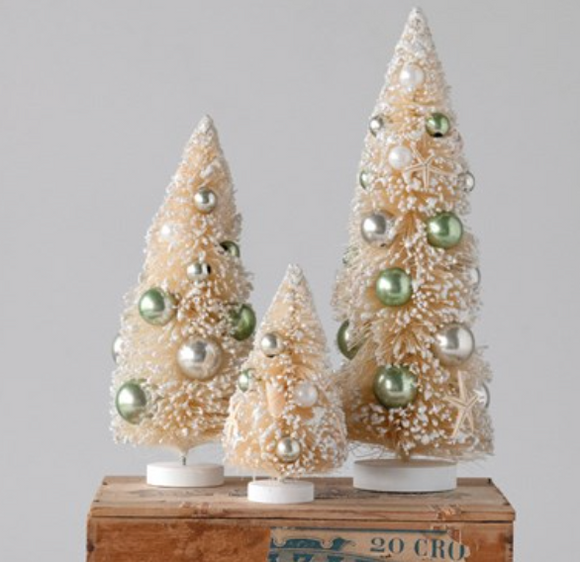 Cream Bottle Brush Tree w/ Shells & Ornaments