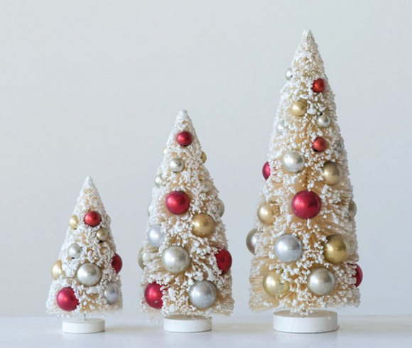 Cream & Red Bottle Brush Tree w/ Ornaments