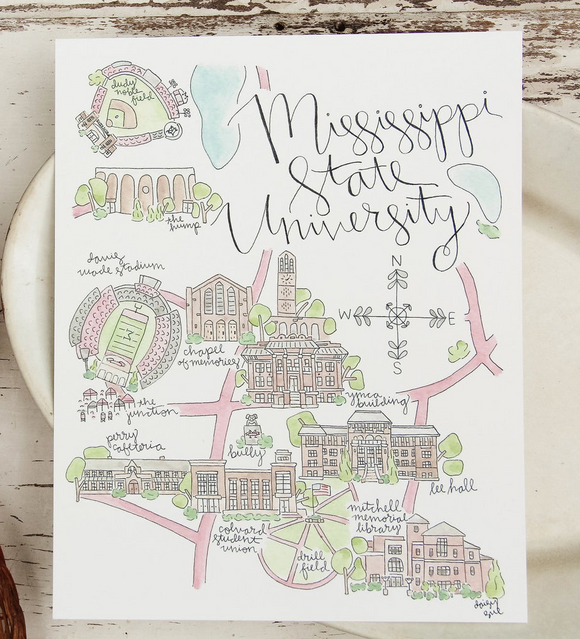 Mississippi State University Watercolor Print