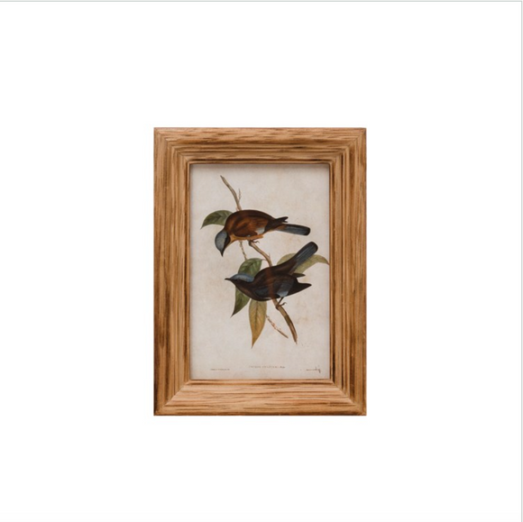 Bird Print with Wood Photo Frame