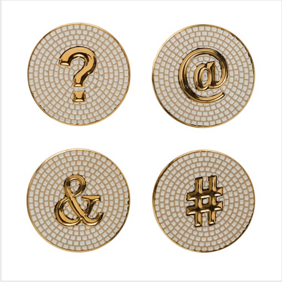 Set of 4 Embossed Stoneware Coasters