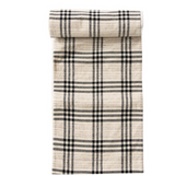Black Plaid Cotton & Wool Table Runner