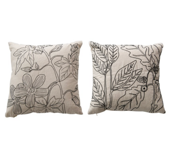Botanical Embroidered Pillow