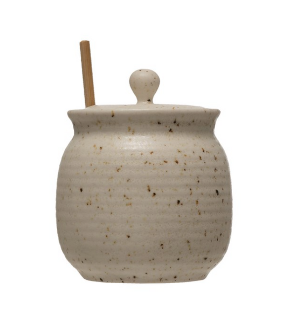Beige Speckled Stoneware Honey Jar w/ Dipper