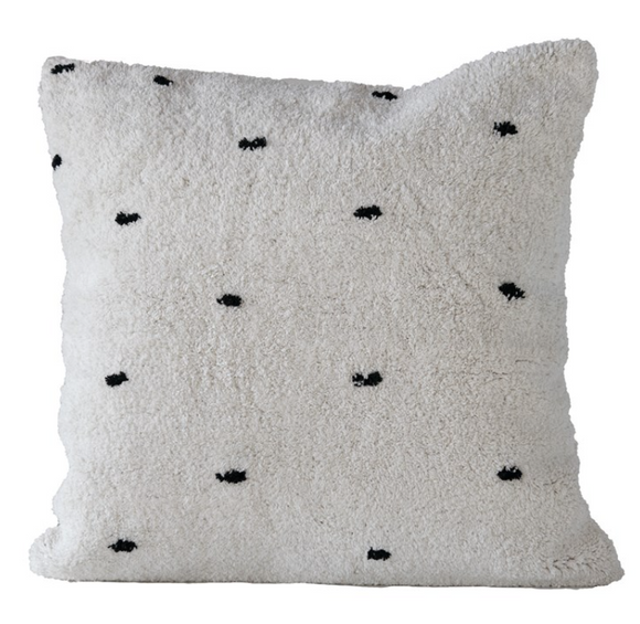Tufted White w/ Black Dots Pillow