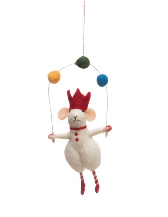 Felt Juggling Mouse Ornament