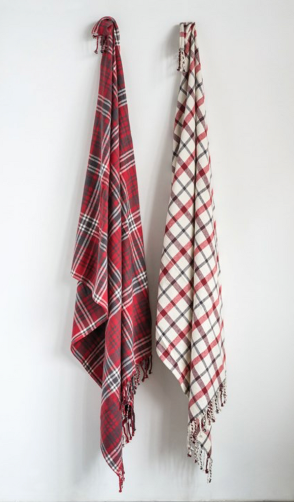 Red & White Plaid Throw w/ Fringe