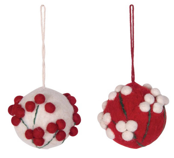 Felt Ball Ornament w/ Pom-Pom Appliquéd Berries