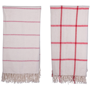 Red & Cream Brushed Cotton Throw