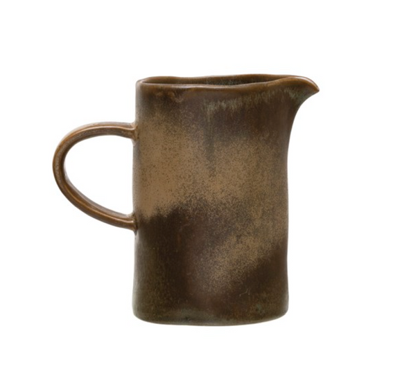 Taupe & Blue Reactive Glaze Stoneware Pitcher