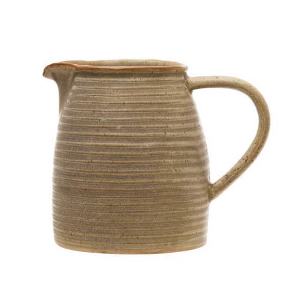 Matte Grey Reactive Glaze Stoneware Pitcher