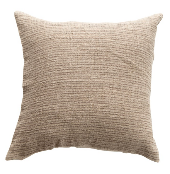 Square Taupe Linen Ribbed Pillow