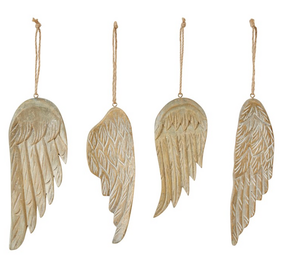 Hand-Carved Wooden Wing Ornament