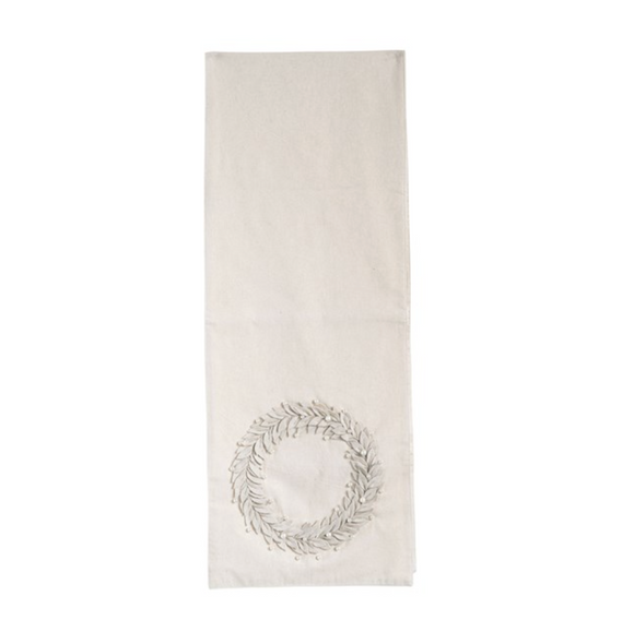 Cream Appliquéd Felt & Pearl Bead Wreath Runner