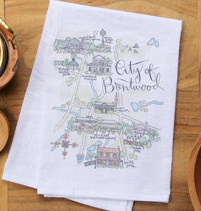 City of Brentwood Map Tea Towel