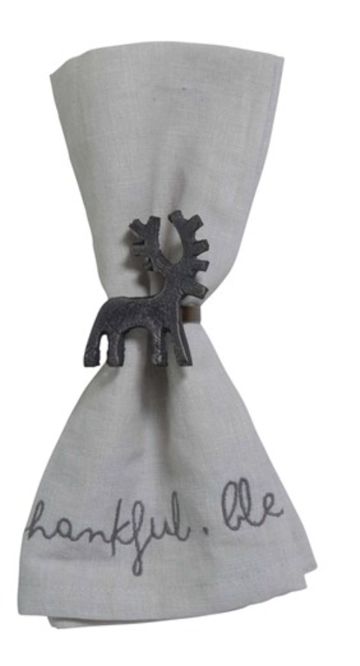 Boxed Set of Gunmetal Reindeer Napkin Rings