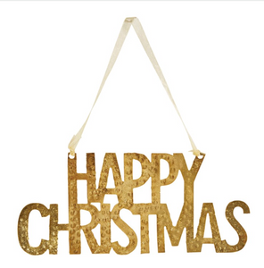 Hammered Gold Metal Happy Christmas Hanger
