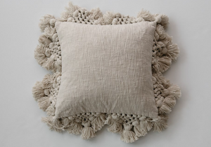 Square Beige Slub Pillow w/ Crochet & Tassels