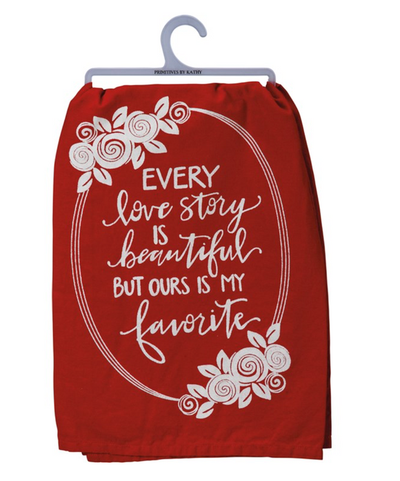 Red Love Story Tea Towel