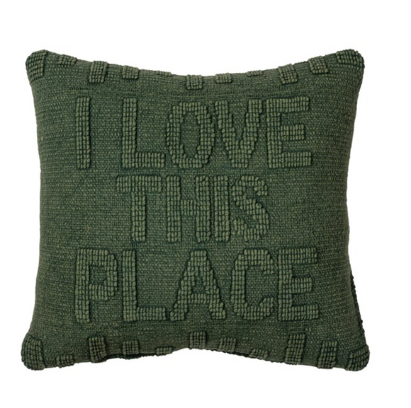 Dark Green Love This Place Pillow