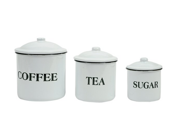 Enameled Coffee, Tea, Sugar Set