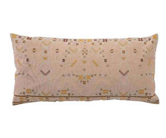 Multi-Color Embroidered Lumbar Pillow