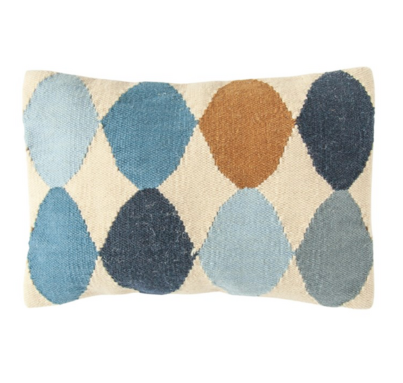 Multi-Colored Woven Wool Patterned Lumbar Pillow