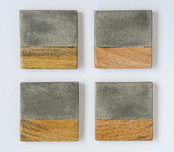 Square Cement & Wood Coaster Set