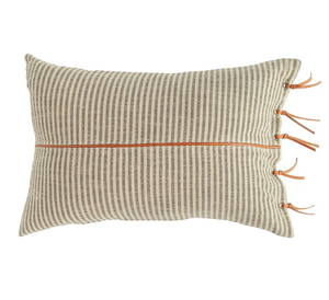 Beige & Black Striped Ticking Lumbar Pillow