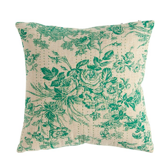 Green Chambray Toile Pattern & Kantha Stitch Pillow