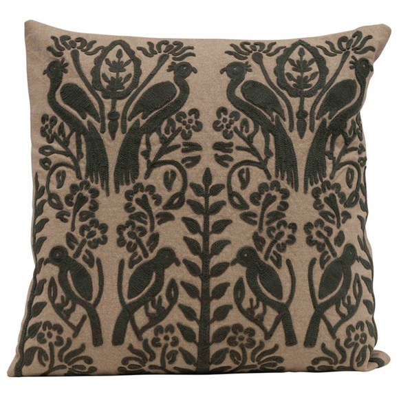 Square Charcoal Embroidered Pillow