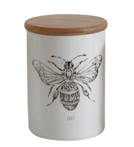 Stoneware Bee Container w/ Lid