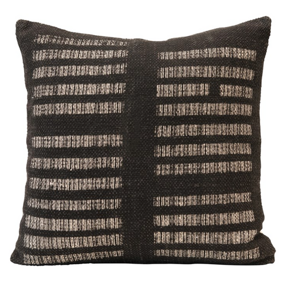 Square Black & White Printed Pillow