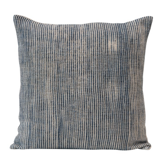 Square Blue Stonewashed Ribbed Pillow